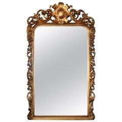 Floor Mirror, Louis XV Style Gold Leaf Carved Embellished