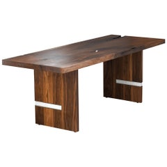 Floor Model Walnut Slab Table in Alabaster and Patina Brass by Ordinal Indicator