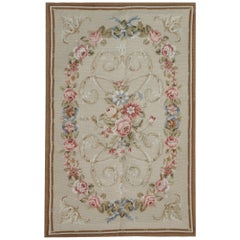 Luxury Aubusson Medallion Needlepoint Flat-Weave Floor Rug