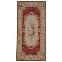 Floor Rug, Luxury Red Rug Aubusson Rugs Medallion, Needlepoint Flat-Weave Rug