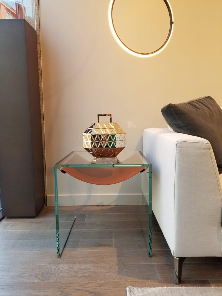 Modern Amaca Glass and Leather Side Table by Tonelli Design For Sale