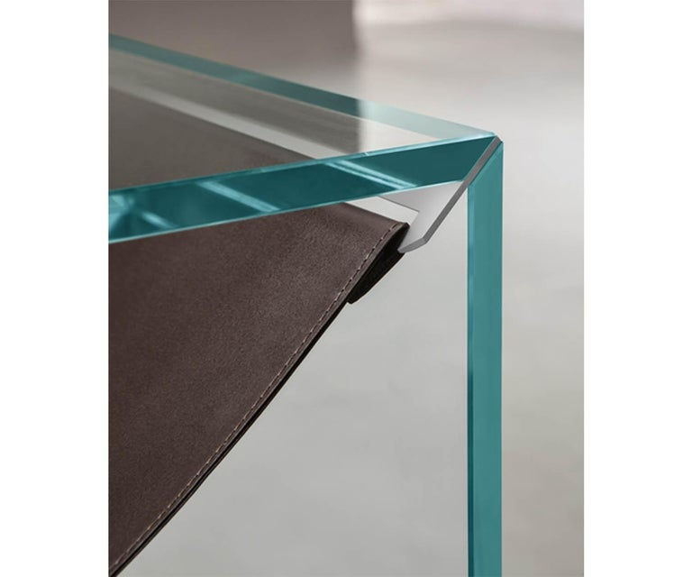 Italian Amaca Glass and Leather Side Table by Tonelli Design For Sale