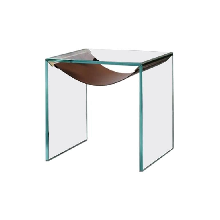 Amaca Glass and Leather Side Table by Tonelli Design For Sale
