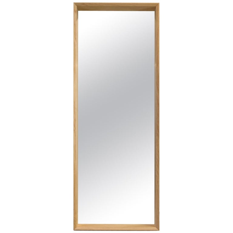 Floor Standing Handmade Large Format Hardwood Ash Mirror, Gallery Style For Sale