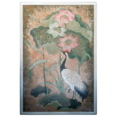Flora and Fauna Large Scale Hollywood Regency Style Original Painting