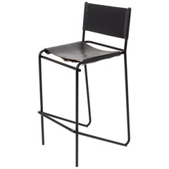 Flora Bar Stool in Black Leather and Black Steel by Steven Bukowski