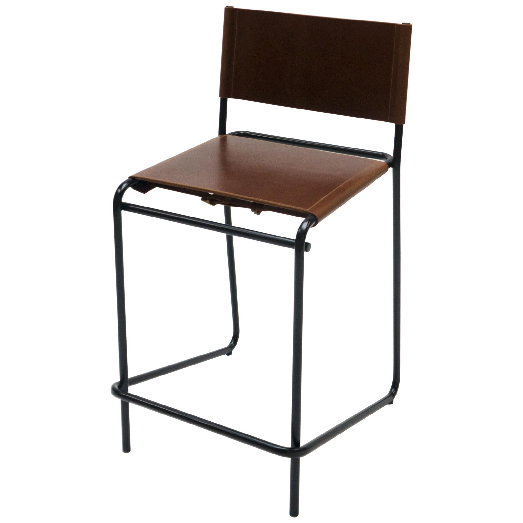 Flora Counter Stool in Brown Leather and Black Steel by Steven Bukowski
