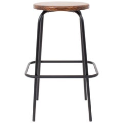 Flora Coffee Stool in Walnut and Black Steel by Steven Bukowski