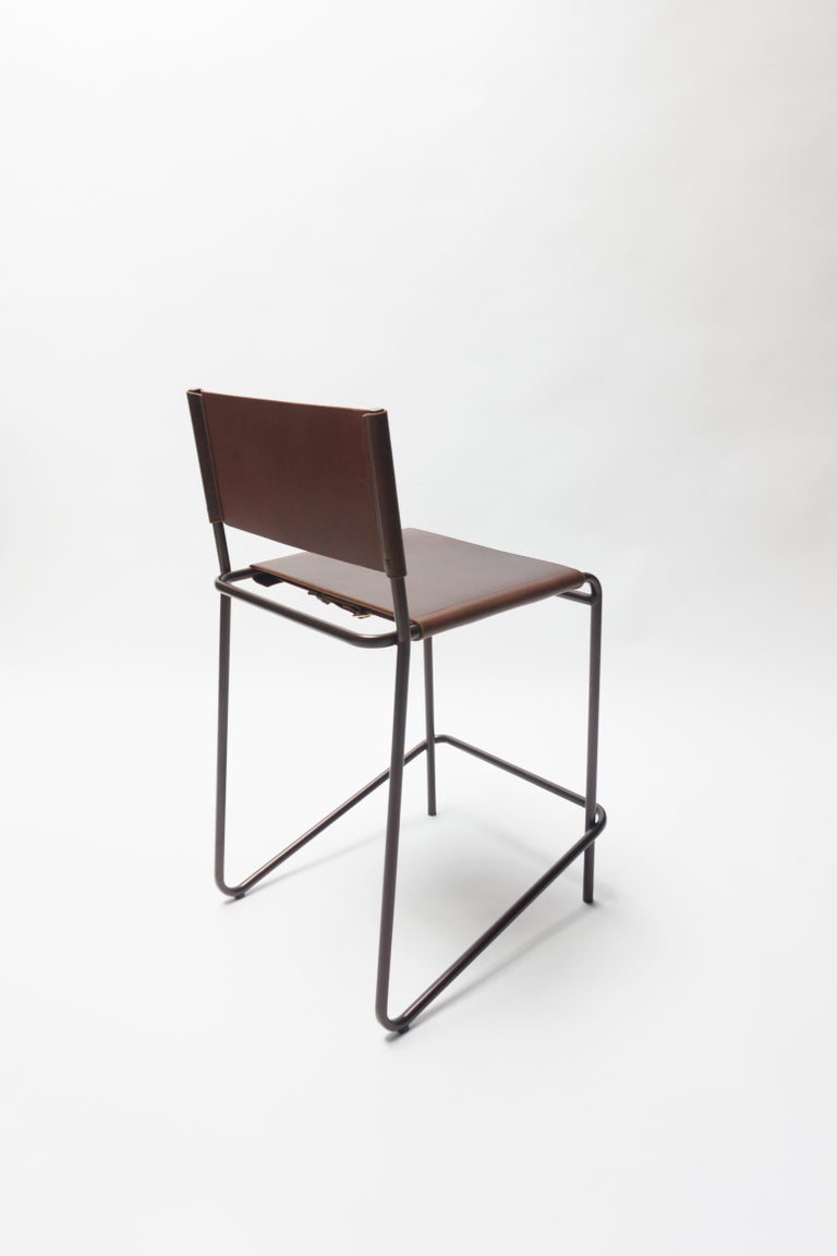 Mid-Century Modern Flora Counter Stool in Brown Leather and Bronzed Steel by Steven Bukowski For Sale