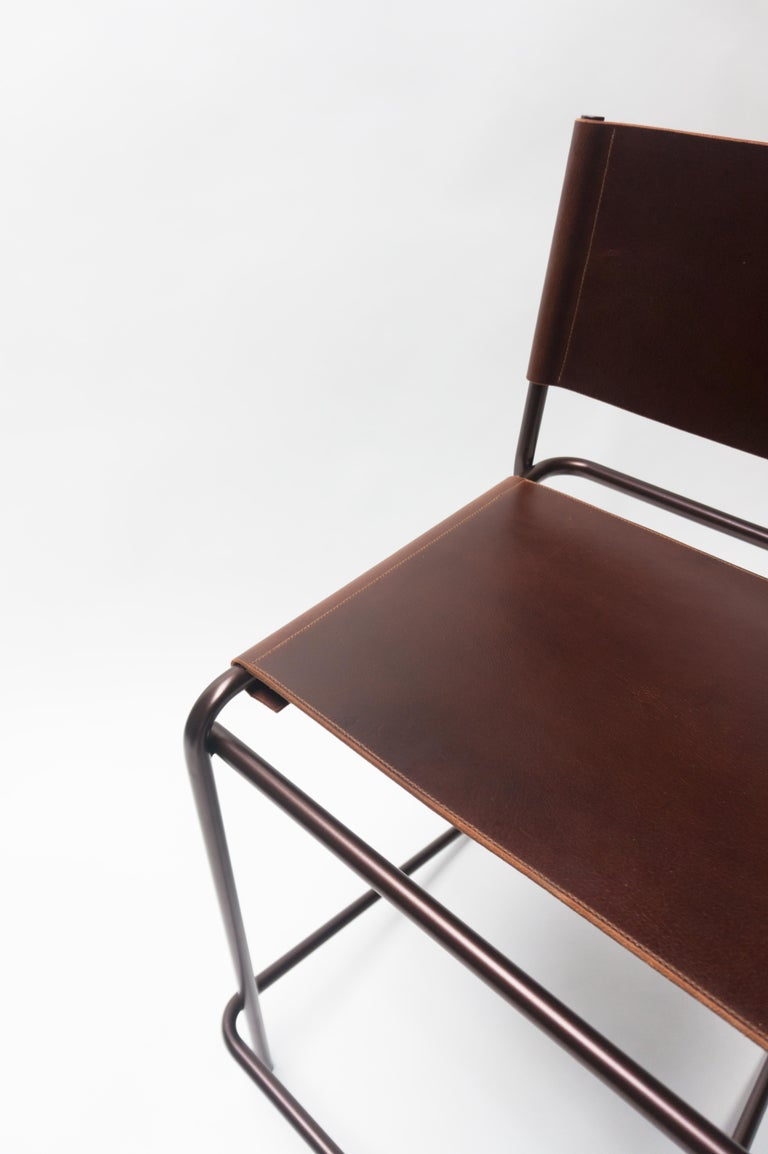 American Flora Counter Stool in Brown Leather and Bronzed Steel by Steven Bukowski For Sale