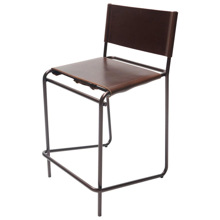 Flora Counter Stool in Brown Leather and Bronzed Steel by Steven Bukowski For Sale