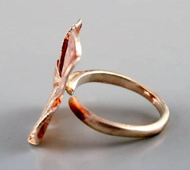Modern Flora Danica Jewellery, Two Rings of Sterling Silver, Gold-Plated For Sale