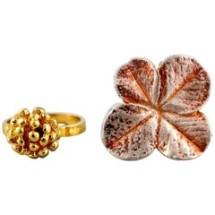 Flora Danica Jewellery, Two Rings of Sterling Silver, Gold-Plated