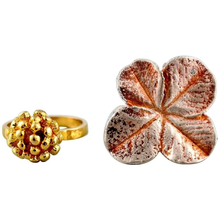 Flora Danica Jewellery, Two Rings of Sterling Silver, Gold-Plated For Sale