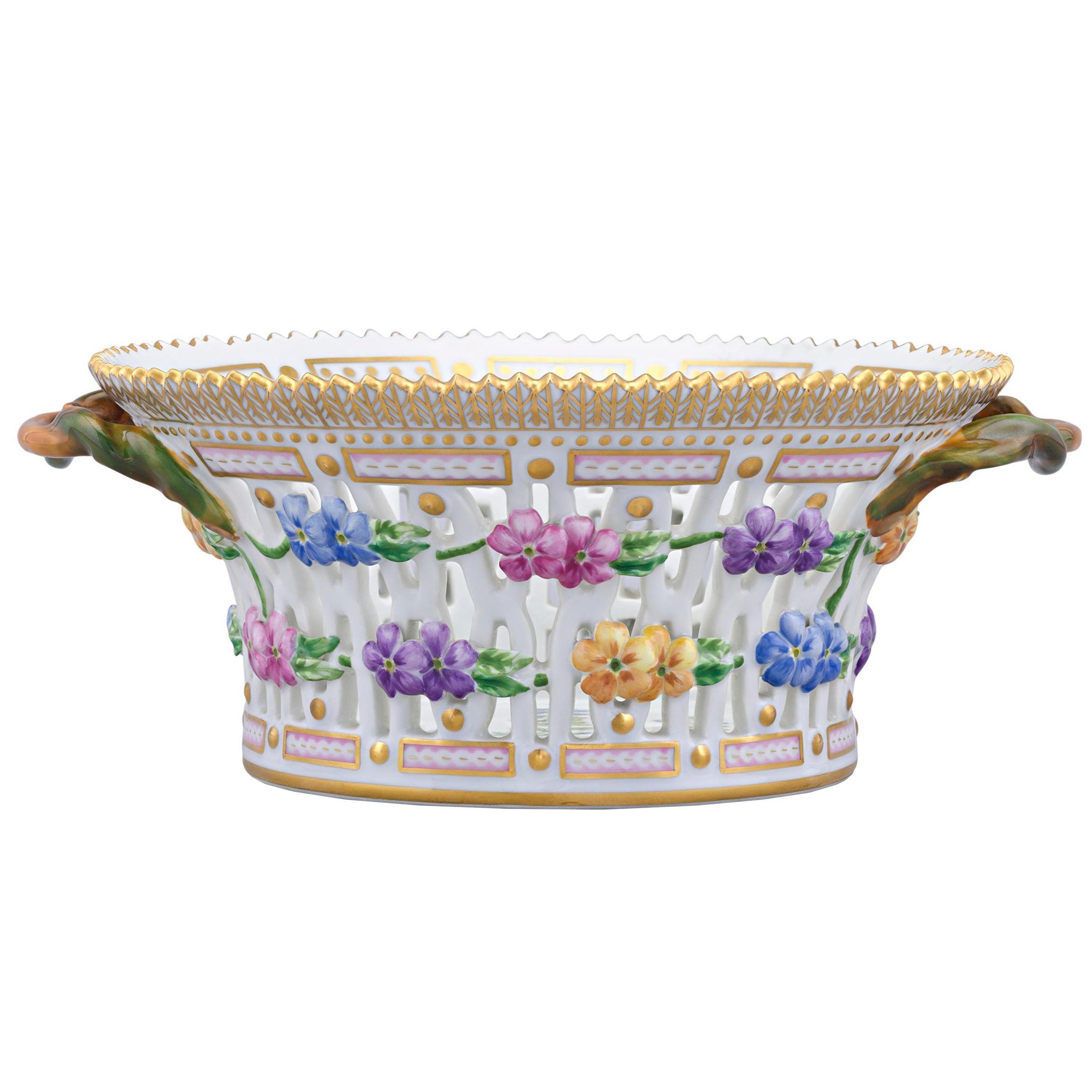 Flora Danica Pierced Porcelain Basket by Royal Copenhagen