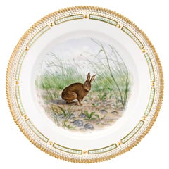 Flora Danica Rabbit Dinner Plate