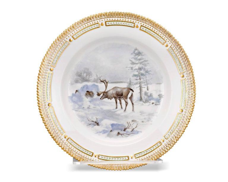 Danish Flora Danica Reindeer Dinner Plate For Sale