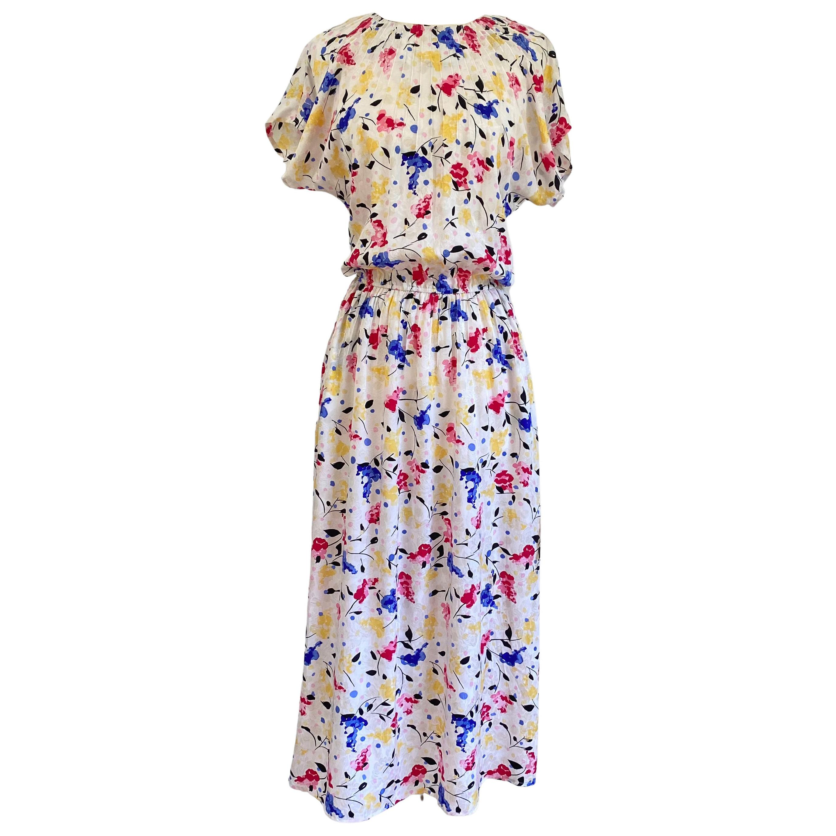 Flora Kung Blooming Lilacs Silk Tea Dress with POCKETS - New