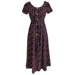 Flora Kung Button Down Printed Silk Crepe Tea Dress