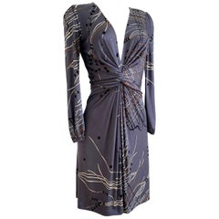 Flora Kung CATE dress in gray tassel-print silk jersey