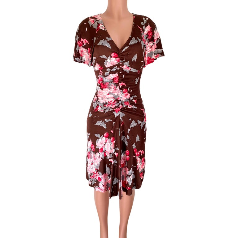 Brown FLORA KUNG chocolate brown pink floral silk dress For Sale