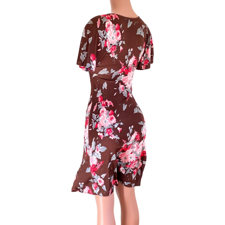 FLORA KUNG chocolate brown pink floral silk dress In New Condition For Sale In Boston, MA