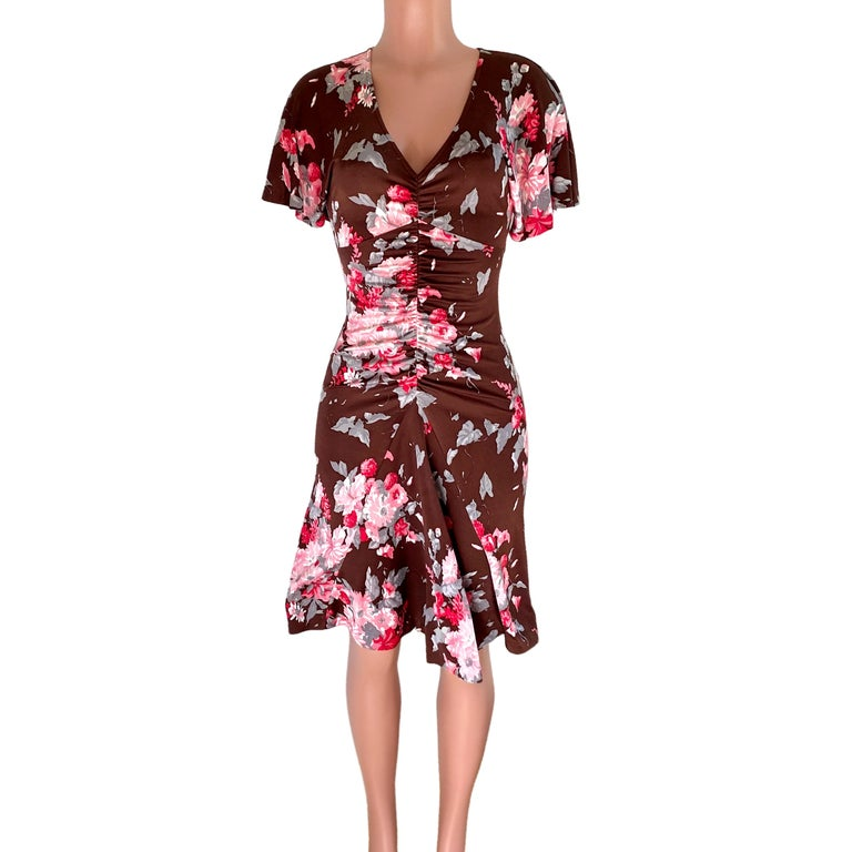 Women's FLORA KUNG chocolate brown pink floral silk dress For Sale