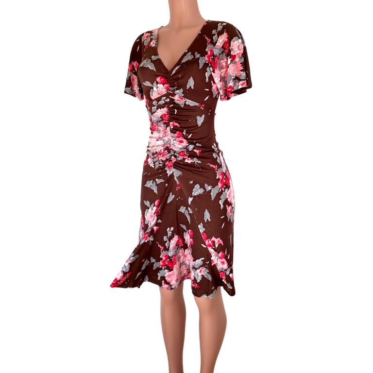 FLORA KUNG chocolate brown pink floral silk dress For Sale 1