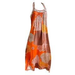 Flora Kung Coral Mixed Print Maxi Boho Halter Dress NWT