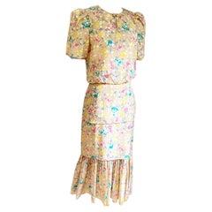 Flora Kung floral print 3-tier silk CATIA midi dress in almond