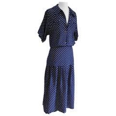 FLORA KUNG Lovisa Navy Pindot Midi Shirt Dress NWT
