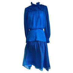 FLORA KUNG Noe Cobalt Pindot Tea-length silk dress NWT