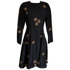 FLORA KUNG Black Silk Lucky Mahjong Print Silk Dress