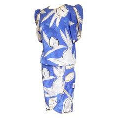 Flora Kung Periwinkle Tulip Silk Jacquard Ensemble Wrap Skirt Set