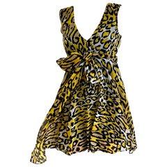 Flora Kung TIFF yellow cheetah silk georgette dress NWT