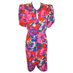 Flora Kung Wonderful Multicolor Silk Floral Short-Sleeve Button-Front Dress