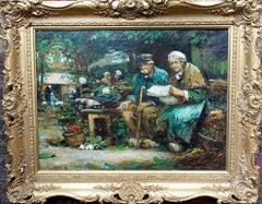 The Courting Couple - Scottish art female artist 1920s oil painting market scene