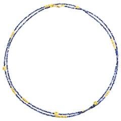 """Flora"" Milky Blue Sapphire Beaded Necklace"