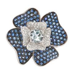 Floral 0.72 Carat Aquamarine and Blue Sapphire Ring in 14 Karat Rose Gold