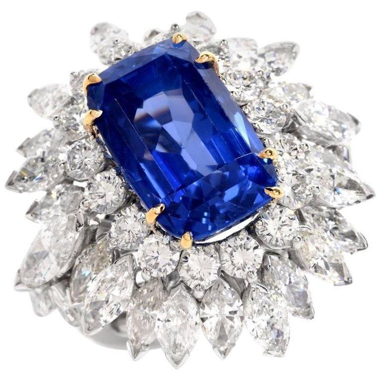 Modern Floral 13.65 Carat Burma Sapphire Diamond Platinum Cluster Cocktail Ring For Sale