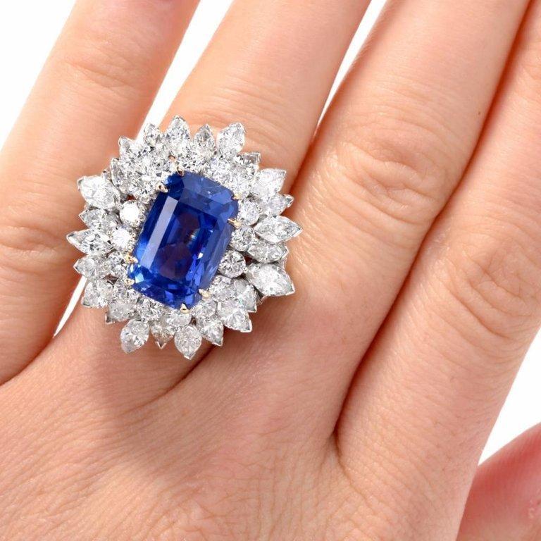 Women's or Men's Floral 13.65 Carat Burma Sapphire Diamond Platinum Cluster Cocktail Ring For Sale