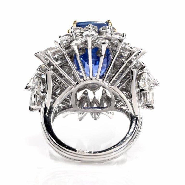 Floral 13.65 Carat Burma Sapphire Diamond Platinum Cluster Cocktail Ring For Sale 1
