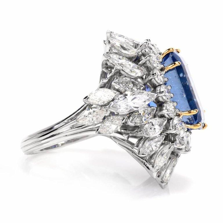 Floral 13.65 Carat Burma Sapphire Diamond Platinum Cluster Cocktail Ring For Sale 2