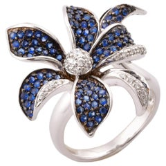 Floral 1.7 Carat Blue Sapphire and Diamond Ring in 14 Karat White Gold