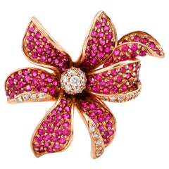 Floral 1.7 Carat Ruby and Diamond Ring in 14 Karat Rose Gold