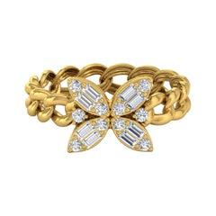 Floral 18 Karat Gold Chain Ring