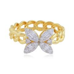 Floral 14 Karat Gold Chain Ring