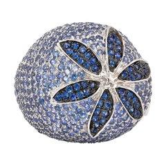 Floral 5.2 Carat Blue Sapphire Ring in 14 Karat White Gold