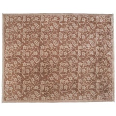 Floral All-Over Design Rug in Brown and Beige