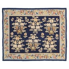 Floral All-Over Navy Field Antique Ukrainian Bessarabian Wool Kilim, ca. 1920
